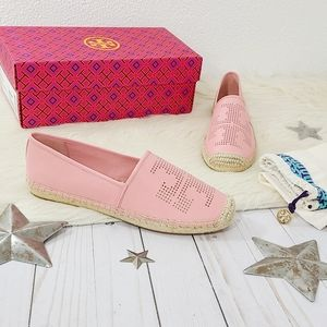 Tory Burch perforated logo flat espadrille pink 9.